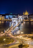Night View of the Chain Bridge and church St. Stephen's Basilica Royalty Free Stock Photography