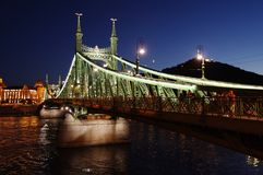 Night view of Chain bridge on Danube river in Budapest city. Hungary. stock image