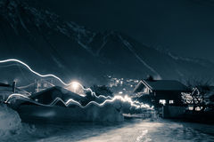 A Night view from Chamonix Stock Photos