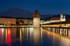 Night view on Chapel Bridge in Luzern Stock Photo