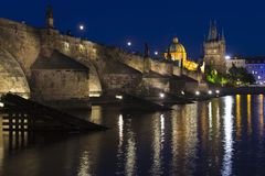 Night view of Charles bridge Royalty Free Stock Photography