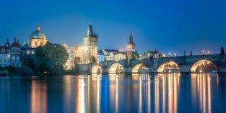 Charles bridgeat night, Prague, Czech Republic. Night view of Charles bridge and Prague cityscape, Czech Republic Royalty Free Stock Image
