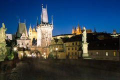 Night view of the Charles Bridge in Prague. Stock Image