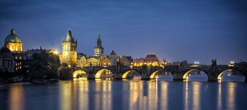 Night view of Charles Bridge in Prague Stock Images