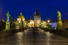 Night view of Charles Bridge in Prague Royalty Free Stock Photography