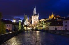 Night view of Charles Bridge in Prague Royalty Free Stock Photos