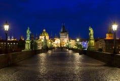 Night view of Charles Bridge in Prague Royalty Free Stock Photo