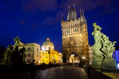 The night View on Charles Bridge in Prague, Czech Republic. Royalty Free Stock Images