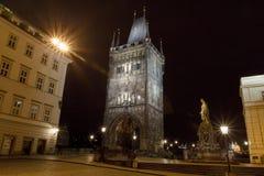 Night view of Charles Bridge, Prague, Czech Republic Stock Photos