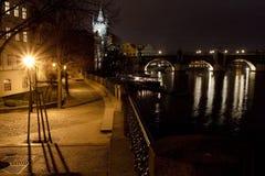 Night view of Charles Bridge, Prague, Czech Republic Royalty Free Stock Photography