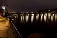 Night view of Charles Bridge, Prague, Czech Republic Royalty Free Stock Photos