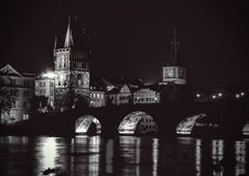 Night view of Charles bridge Stock Photo