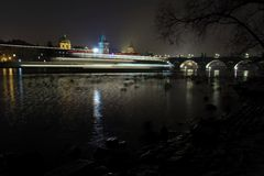 Night view on the Prague´s Charles bridge Stock Photo