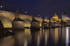 Night view of Charles Bridge and Vltava Stock Photo