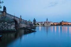 Night view of Charles Bridge and Vltava Stock Image