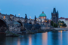 Night view of Charles Bridge and Vltava Royalty Free Stock Photography