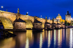 Night view of Charles Bridge and Vltava Royalty Free Stock Photos