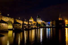 Night view of Charles Bridge and Vltava Royalty Free Stock Image