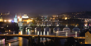 Night View at The Charles Bridge  and Vltava river Stock Photos
