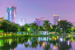 Night view of Chatuchak park stock photo