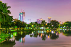 Night view of Chatuchak park lake stock photos