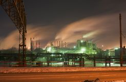 Night view of the Chelyabinsk Metallurgical Plant. Mechel stock images