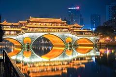 Night view of  chengdu anshun bridge. Beautiful chengdu anshun bridge at night ablaze with lights , China Stock Photography