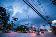 Night view Chiang Mai street Stock Photo
