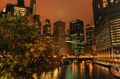 Night view of Chicago stock images