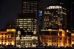Night view of China Shanghai Bund buildings Stock Photos