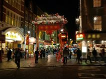 A night view of the Chinatown in London stock images