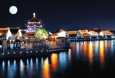 Night view of Chinese village near river Stock Photos