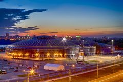 Night View of Chizhovka Arena Sport Complex as One of the Main Sport Venues for The Second European Games in Minsk. Belarus. Horizontal image stock image