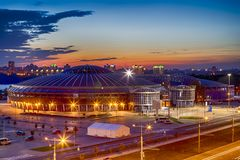 Night View of Chizhovka Arena Sport Complex as One of the Main Sport Venues for The Second European Games in Minsk. Belarus stock image