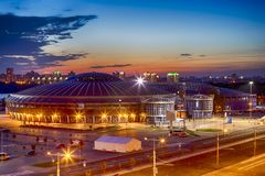 Night View of Chizhovka Arena Sport Complex as One of the Main Sport Venues for The Second European Games in Minsk. Belarus. Horizontal Shot royalty free stock photography