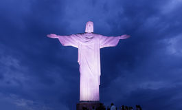 Night view of Christ the Redeemer in Rio de Janeiro Stock Photos
