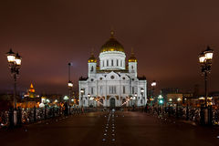 Night view of Christ the Saviour Cathedral Stock Images