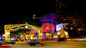 Night view of Christmas Decoration at Singapore Orchard Road on November 19, 2014 Royalty Free Stock Photo