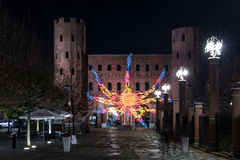Night view at Christmas time of Torri Palatine in Turin, Italy royalty free stock images
