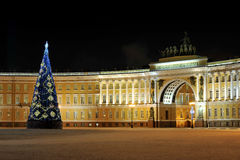 Night view of Christmas tree on Palace square in St. Petersburg, Royalty Free Stock Photography