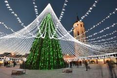 Night view of the christmas tree in Vilnius Stock Photos