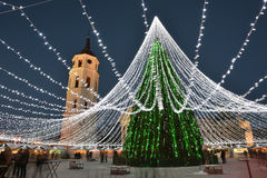 Night view of the christmas tree in Vilnius Royalty Free Stock Photo