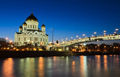 Night view of Church of Cathedral of Christ the Saviour Royalty Free Stock Photos