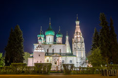 Night view of the Church of Elijah the Prophet in Yaroslavl, Russia. Golden Ring of Russia Royalty Free Stock Photo