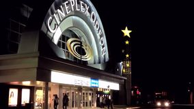 Night view of cineplex odeon theater stock video