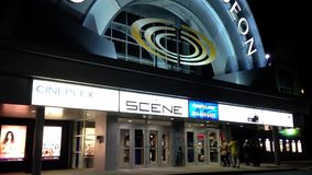 Night view of cineplex odeon theater stock video footage