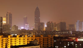 Night view of city. Night view of developing city in Wuhan of China Royalty Free Stock Images