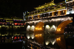 Old city. Night view of the ancient city of Fenghuang County, Hunan province, China Stock Photography