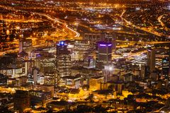 Night View of City Bowl and Business District of Cape Town Stock Photo