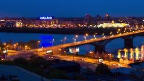 Night view of city bridge over river stock video